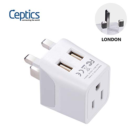 London, Hong Kong, Ireland Travel Adapter Plug by Ceptics - With Dual USB + USA Input - Type G -...