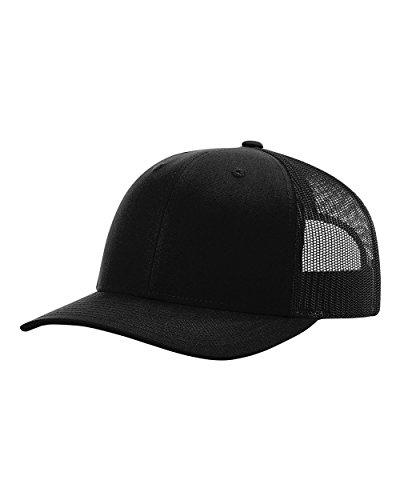 Low Pro Cap - Richardson 115 Snapback Truckers Cap, Black, Adjustable