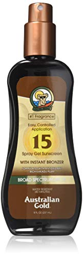 Australian Gold Spray Gel Sunscreen with Instant Bronzer, Moisturize & Hydrate Skin, Broad Spectrum, Water Resistant, SPF 15, 8 Ounce