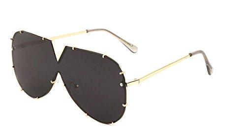Rimless Oversized Shield One Piece Floating Lens Sunglasses (Gold Frame, Black Super - Side Leather Sunglasses Shields Aviator