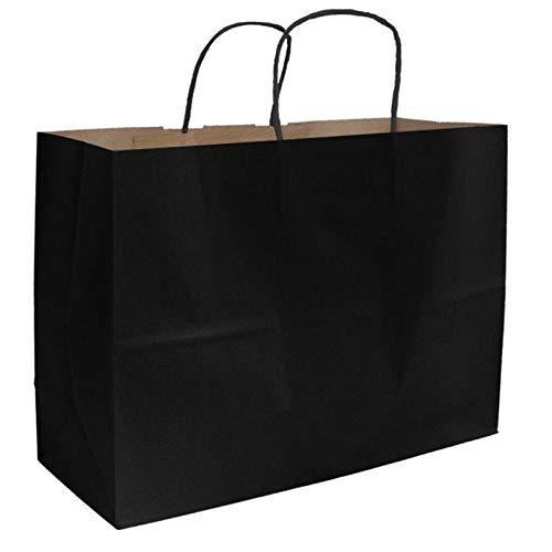 250pcs Kraft Shopping Bag, Mechandise Bags ~Black~ 65# Natural Kraft Paper,16 x 6 x 12 1/2