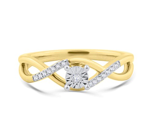10K Gold Diamond Promise Ring Engagement Infinity Style Yellow Gold or Rose Gold (yellow-gold, 8) by Midwest Jewellery