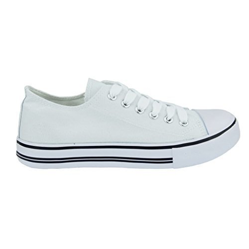 Logan-1 Fashion Canvas Lace-Up Sneakers, White, 7 B(M) US ()
