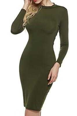 Zeagoo Women Sexy Back Mesh Bandage Club Bodycon Midi Dress