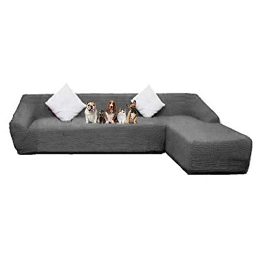 Obokidly Jacquard Anti-Wrinkle Sectional Sofa Slipcover Couch Cover;Dirstproof Right Facing Royal 2Pcs L Shaped Chaise Sofa Covers Protector Baby Pet (Grey, Sectional Chaise Sofa + 2-Seater Sofa)
