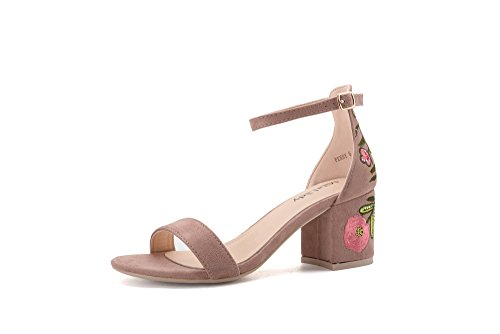 Mila Lady Penny A Slim Ankle Strap Floral Embroidered Block Chunky Heel Sandals, Pink/FL 7.5 3' Chunky Heel Boots