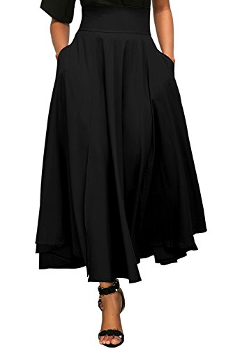 QUEENIE VISCONTI Women Retro High Waist Pleated Belted Midi Skirts with Pockets Black M ()