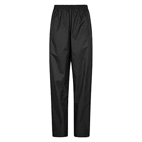 DEATU Womens Waterproof Overtrousers, Breathable Rain Pants, Lightweight Outdoor Trousers for Spring Autumn Travelling(Large,Black)