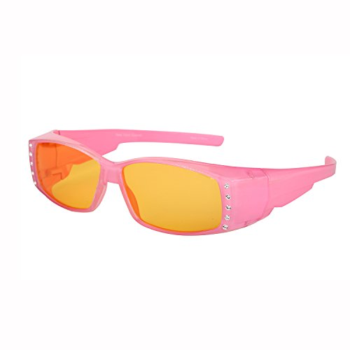 Womens Fit Over Glasses Polarized Night Driving Rhinestone Sunglasses (Pink, - Glasses Computers That Help With