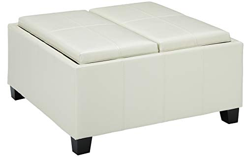 Christopher Knight Home 296881 Living Justin Off-White Leather Tray Top Storage Ottoman, Ivory