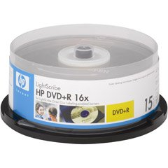 HP 16x LightScribe 4.7GB 120-Minute DVD+R Media - 15 Pack (Discontinued by Manufacturer)