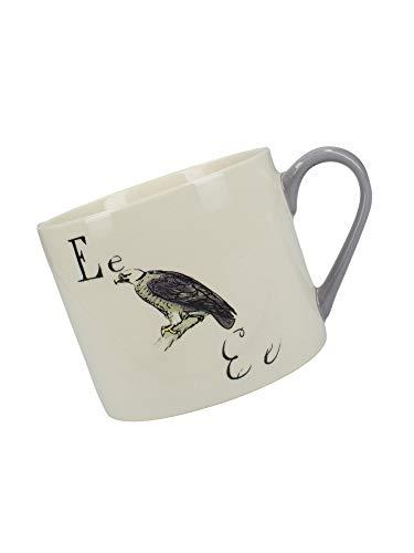 V&A Nonsense Alphabet Collectible Ceramic Mug with Printed 'E.' Poem, 430 ml (15 fl oz) - White/Purple