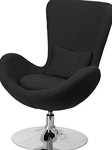 Price comparison product image Mikash Contemporary Design Black Fabric Egg Chair Series -Reception Lounge Accent Chair / Model LNGCHR - 85