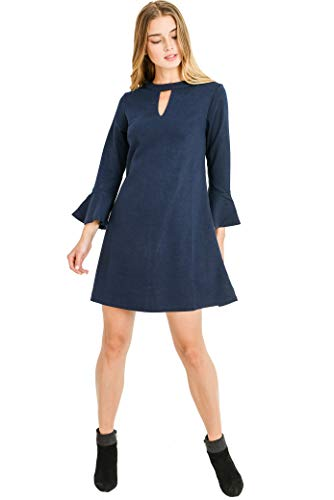 Aryeh Keyhole Knit Dress in Navy (Navy, Large)