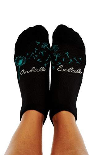 - Toe Talk, INHALE EXHALE, Novelty Inspirational Slipper Socks, Fine Knit Cotton Blend, Women's Sizes 6-10, Black