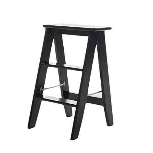 Solid Wood Step Stool Household Fold Ladder Multifunction Thicken Step Chair Dual Use Indoor Ascend The Ladder, 3 Steps (Color : Black)