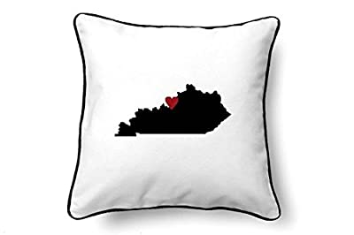 """onepicebest Kentucky Pillow - Kentucky Gift - Kentucky Map - KY State Map 18"""" x 18"""" Throw Pillow Cushion covers for Sofa Couch"""