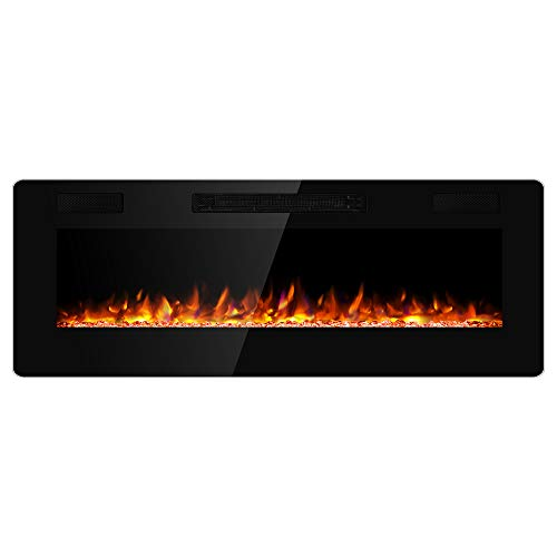 JAMFLY Electric Fireplace Wall Mounted 50 Inch Insert 3.86 Inch Super Thin Electric Fireplace Recessed Fit for 2 x 6 and 2 x 4 Stud Adjustable 12 Flame LED Bed Colors Remote Control with Touch Screen (Fireplace Tools Mounted)