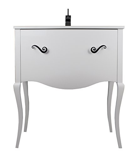 (Viena 32-inch Wide Bathroom Vanity Cabinet Set, Single Sink, White High Gloss Lacquered, Porcelain Glass Countertop with Overflow, Floor Mounted, Solid Wood, Made in Spain (European Brand))