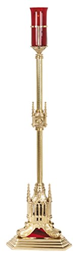 San Pietro Collection Polished Brass Standing Sanctuary Candleholder, 47 Inch by San Pietro Collection
