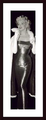 (Marilyn Monroe in Long Fitted Evening Gown, framed black wood, white matte)