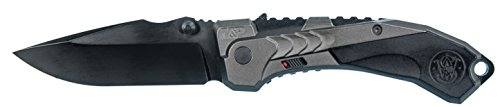Smith & Wesson M&P M2.0 8.5in S.S. Assisted Opening Knife with 3.5in Clip Point Blade and Black Aluminum Handle for Outdoor, Tactical, Survival and ()