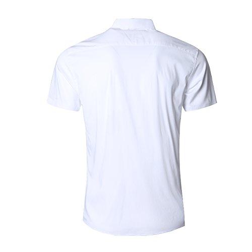 Fit Vestito Camice Down Maniche Button Maglia Nutexrol Cotone Solido Slim Bianco Di Corte Uomo BwHCxXq