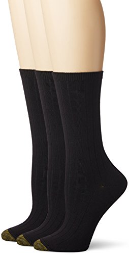 Gold Toe Women's Ultra Soft Verona Crew Sock 3-Pack, Black, 6-9