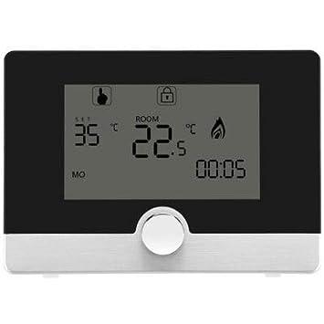 RanDal Hy04Bw Perilla Botón Diseño Estufa De Pared Termostato Inteligente 5A - Negro: Amazon.es: Bricolaje y herramientas