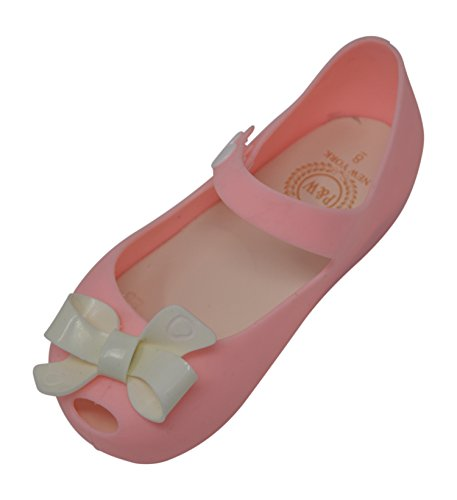 Toddler Girls Peep Toe Bow Flat Mary Jane With Snap Closure (12 M US LITTLE KID, Pink / White Bow)