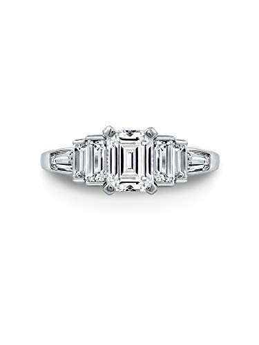 Diamonbliss Platinum Plated Sterling Silver 4cttw Cubic Zirconia Emerald Cut Halo Anniversary Ring Size 11