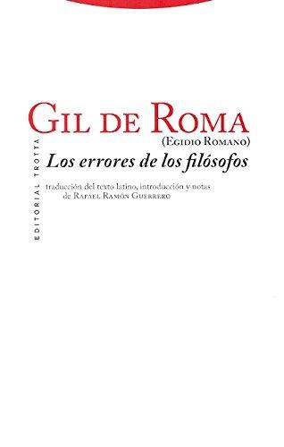 Errores de los filósofos, Los por Rafael Ramón, (ed.lit.) Egidio Romano ; Guerrero