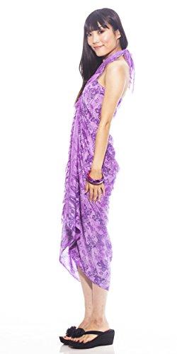 1 World Sarongs Pareo para Mujer con Estampado de Mariposas - Púrpura