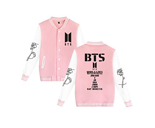 - Kpop BTS Love Yourself Her Baseball Jacket Uniform Suga Rap-Monster Jimin Jin J-Hope Jung Kook Unisex Fashion Jumper for Women Men Sweatshirt Sweater Coat