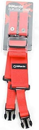 DiMarzio /'ClipLock/' 2in Nylon guitar strap with locking clips Red DD2200RD