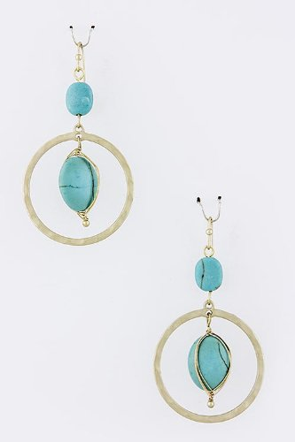 Mighty Gadget TRENDY EARRINGS - NATURAL STONE CIRCLE DANGLE EARRINGS (Color Choices: Turquoise, Black, White/Red) - Random Color Selection Subject to Stock on Hand