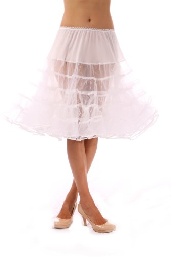 Womens Crinoline Petticoat Underskirt for 50s Poodle Skirt Costume or vintage dresses, by Malco Modes. Tulle tutu skirt, adult dance skirt. Plus size petticoat available (Plus Size White Tulle Petticoat)