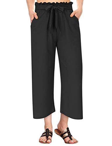 GlorySunshine Women's Elastic Waist Solid Palazzo Casual Wide Leg Pants with Pockets (2XL, Black-Bowknot) ()