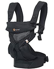 Ergobaby Baby Carrier up to 3Years, 360 Onyx Black Cool Air Mesh Breathable, 4 Carry Positions, Backpack Front Facing