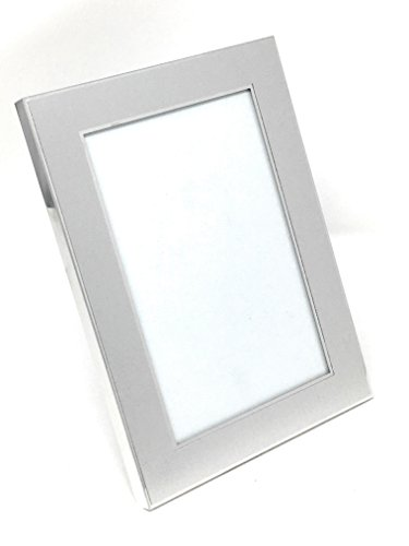 - Silver Brushed and Polished Metal Classic Picture Frame ~ 5x7 Photo Frame ~ Glass Front