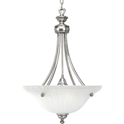 Progress Lighting P3608-81 3-Light Inverted Pendant with Etched Glass, Antique Nickel (3 Light Inverted Bowl Pendant)