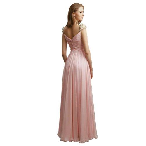 BRIDE GEORGE Perlen Applikationen Chiffon V Rosa Spalte Ausschnitt Abendkleid bodenlangen Rosa mit drRqrzxw