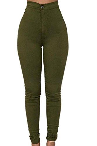 Pantalones Vaqueros De Verde Mujer Cintura Alta Skinny Casual Stretchy Carpi Clubwear Mezclilla La B6xU0w