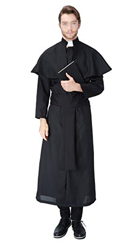 Cosplaybar Mens Halloween Vicar Priest Collar Costume Father Fancy Dress Outfit M Black