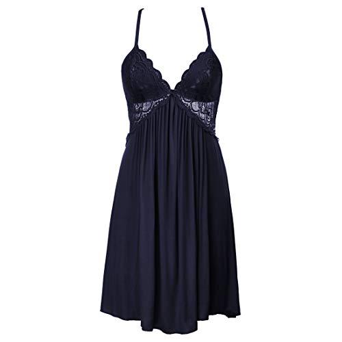(Women Lace Lingerie Sleepwear Chemises V-Neck Full Slip Nightgown Dress,Navy Blue Size S )