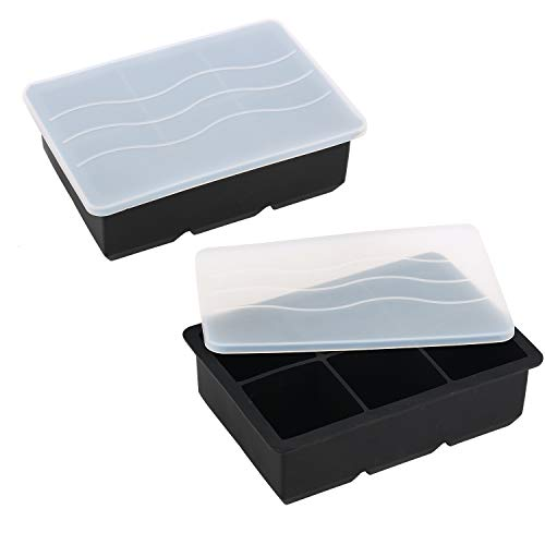 Maconee Ice Cube Trays 2 Pack Easy Release with Lids, 2 Inch Large Silicone Ice Mold Maker Perfect for Whiskey Bourbon Cocktail(Black)