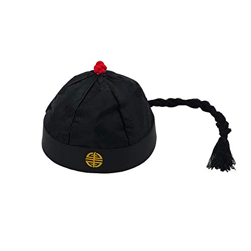 - Chinese Emperor Oriental Hat with Ponytail Party Cosplay Hats Stage Performance Props (Child)