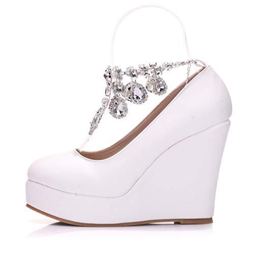 YAN Damenmode Schuhe Rhinestone Kette Hochzeitsschuhe Runde Head Platform Wedge schuhe Party & Evening Dress Sheos,Weiß,34