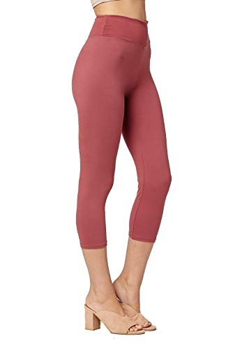 Conceited Super Soft High Waisted Leggings for Women - Capri Mulberry - Small/Medium (0-10)