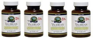 Naturessunshine Valerian Root Extract Time Release Nervous System Support 520 mg 60 Tablets (Pack of 4)